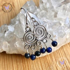 Sodalite Swirl Chandelier Earrings